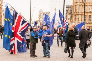 2018: Aktivister som protesterar mot ett brittiskt EU-utträde..